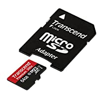Transcend 64GB MicroSDXC Class10 UHS-1 Memory Card with Adapter 45 MB/s (TS64GUSDU1E)