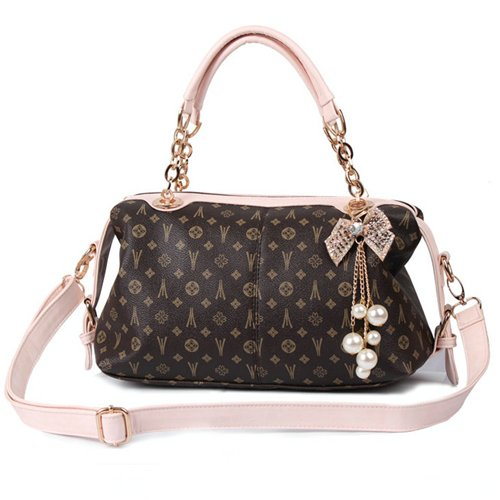 Yafex Women Handbags Dark Brown Chain Handle Retro Printing Pearl Pendant Shoulder bag Totes BG90