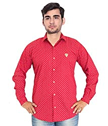 7 Buttons Men's Casual Shirt (s008_Red_X-Large)