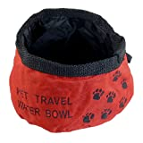 Portable Red Folded Pet Dog Cat Camping Hiking Travel Food Water Bowl
