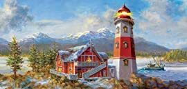 Lighthouse Bluff 1000pc Jigsaw Puzzle by Nicky Boehme