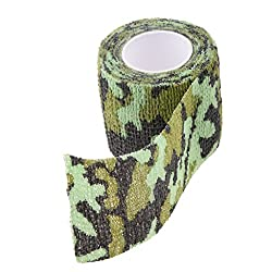 Generic 5CM x 4.5M Outdoor Camouflage Wrap Rifle Gun Hunting Waterproof Camo Stealth Duct Tape - light green camo