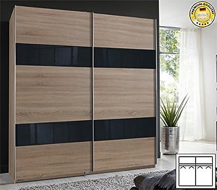 Schwebeturenschrank 417371 Kleiderschrank eiche sägerau / Grauglas 180cm