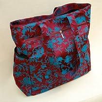 Vibrant Magenta and Turquoise Botanical Large Handbag Tote Travel By Indigenie