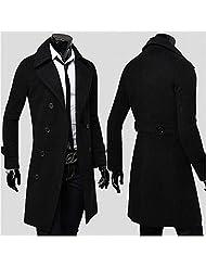 Trench Coat Veste Longue Pardessus Manteaux Noir Taille XXL/US L
