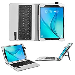 Galaxy Tab A 9.7 Keyboard case, IVSO®Ultra-Thin High Quality DETACHABLE Bluetooth Keyboard Stand Case / Cover for SamSung Galaxy Tab A SM-T550NZWAXAR 9.7-inch Tablet (White)