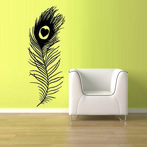 Wall Vinyl Sticker Decals Decor Art Feather Decal Peacock Feather Bird (Z1208) front-1029381