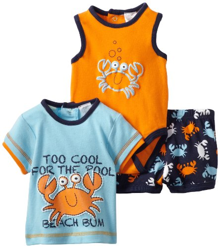 Baby Togs Baby-boys Newborn Crab 3 Piece Short Set, Aqua, 6-9 Months