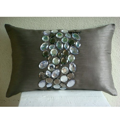 Crystal Delight -50x65 cm Standard Pillow Shams - Lumbar / Oblong - Rectangle Standard Sham Cover with Crystal Embroidery