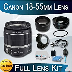 Canon Zoom Wide Angle-Normal EF-S 18-55mm f/3.5-5.6 IS Autofocus Lens + Full Advanced Lens Accessory kit
