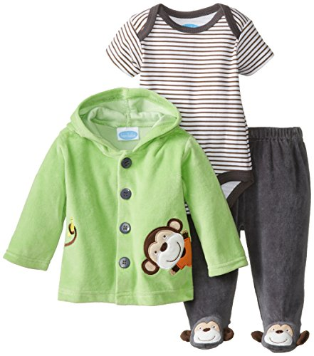 Bon Bebe Baby-Boys Newborn Monkey Velour Jacket And Pant Set With Bodysuit, Multi, 0-3 Months front-1014685