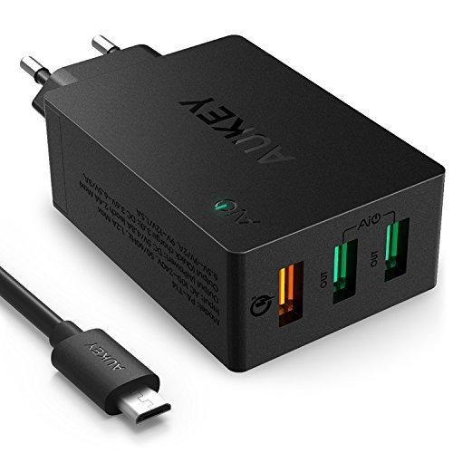 AUKEY-Quick-Charge-30-Caricabatterie-USB-da-Muro-435W-con-1-Porta-Quick-Charge-30-e-2-Porte-5V-24A-Compatibile-con-iPhone-iPad-Samsung-S7-S6-S6-Edge-Xiaomi-5-Cuffie-Bluetooth-Altoparlante-ecc-Include-