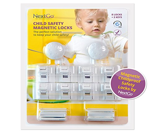 NextGo ChildProof Magnetic Cabinet Locks (10-Piece Set) - Child Safety Set and Baby Proofing Kit for Drawers, Cupboards, Doors, Desks - Latches Install with 3M Adhesive, No Tools Required (Childproof Cabinet Locks compare prices)