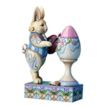 Enesco Jim Shore Heartwood Creek Bunny Painting Easter Egg Figurine 6.5-Inch