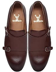 Brown Hand Finished Formal Leather Double Monk Strap Shoes For Men By Bareskin /Designer Leather Shoe/Burnished...