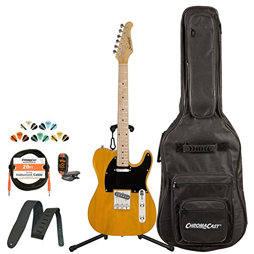 Sawtooth St-Et50-Bsb-Kit-1 Classic Et 50 Ash Body Electric Guitar - Butterscotch With Black Pickguard, Gig Bag, Cable, Picks, Strap, Tuner And Stand