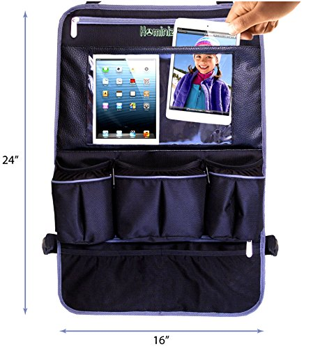 "#1 Car Back Seat Organizer With 17"" Leather Touch Screen Tablet Holder Heavy Duty Waterproof Backseat Protector/ Kick Mat For Kids & Babies Free Gift Car Seat Protector (Code Applied) !!!"