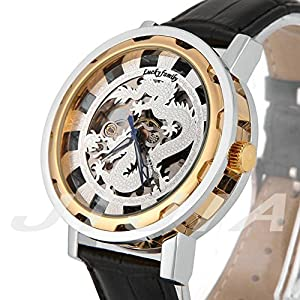 Gift In Box Sliver Gold Dragon Skeleton Dial Black Genuine Leather Atomatic Mechanical Men's Watch G8118-03