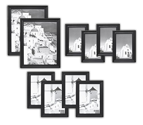 Golden State Art, Wall Frames Collection, Set of 10, Solid Wood Photo Frames, Black