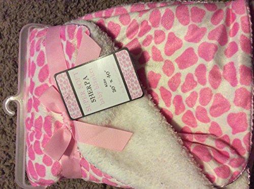 Super Soft Sherpa Baby Blanket 30x40 Little Giraffe Pink 100% Polyester