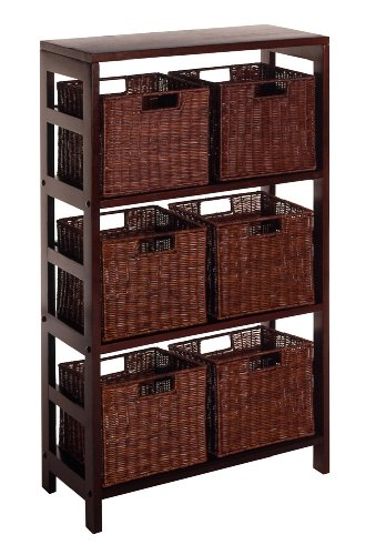 Cheap Winsome Wood Leo Wood 4 Tier Shelf with 6 Rattan Baskets in Espresso Finish