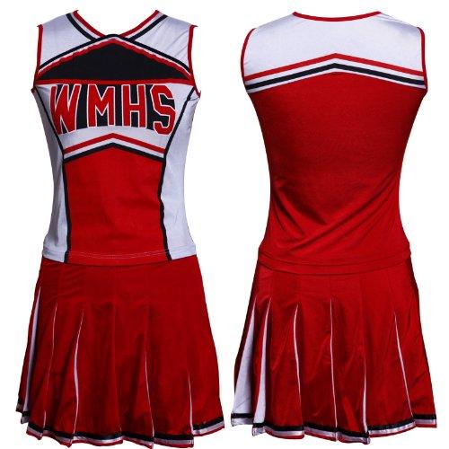 Rot Cheerleader Uniform Cheerleading Cheer Leader Kostüm Karneval GOGO 34-38