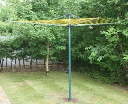 HEAVY DUTY Crank  &  Lift Rotary Washing Line with free premium zipped cover and unique locking ground socket