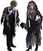 Zombie Bride Dress & Zombie Tuxedo Jacket Adult Couples Costume Set