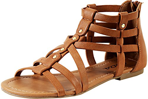 Soda Women's Kells Gladiator Inspired Strappy Open Toe Flat Sandals Nail Head Adornment in White Leatherette (5.5 B(M) US, Tan PU) (Gladiator Sandals Soda compare prices)