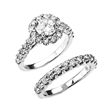 buy 10K White Gold 4 Carat Total Weight Halo Cz Engagement Wedding Ring Set (Size 7.5)