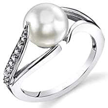 buy Simply Elegant 8.0Mm Freshwater Cultured White Pearl Ring In Sterling Silver Size 6
