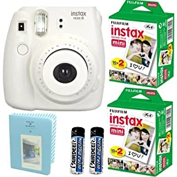 Fujifilm Instax Mini 8 Instant Film Camera ( White ) + 2 Fujifilm INSTAX Mini Instant Film Twin Pack ( = 40 Sheets) With Photo Album 64 Pockets Blue Value Set Bundle