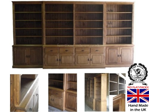 Solid Pine Display Dresser, 14ft Wide Handcrafted & Waxed Break Fronted Display Shelving Unit with Drawers & Cupboards, Buffet Hutch - Bookcase. No flat packs, No assembly, Choice of Colours!