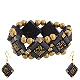 Scorched Earth Scorched Earth Bracelet And EarrIng set SEEBE01 Black And Gold Ceramic Bangle Set For Women