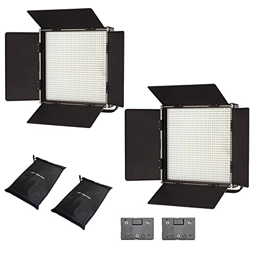 Iled 1024As Bi-Color Dimmable Led Studio Panel 2-Light Kit With Lcd Touch Screen And Anton Bauer Plate + Battery Converter Adapter + Softbox