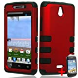HUAWEI ASCEND PLUS H881C RED BLACK HYBRID RIB CAGE COVER HARD GEL CASE + FREE SCREEN PROTECTOR from [ACCESSORY ARENA]