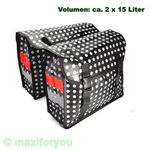 LTJ Fahrrad Gepäckträgertasche Seitentasche o. Doppeltasche 4 Farben Punkte 01170425 (Doppeltasche Schwart)