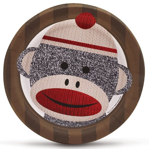 Sock Monkey Red Dessert Plates (8) Party Supplies