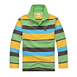 Happy Cherry Toddler Baby Boy T-Shirt Tops Stripe Polo Shirts 5-6 T Green / Brown
