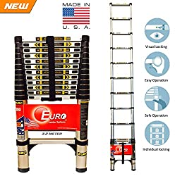Euro Telescopic Aluminium ladder 3.2mtr(11 feet) - Stores at 2.5 feet - Made in USA - Ultra Portable