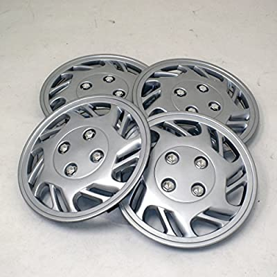 TuningPros WSC2-016S14 Hubcaps Wheel Skin Cover Type 2 14-Inches Silver Set of 4