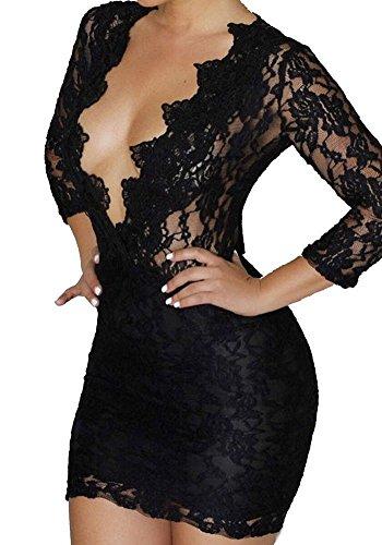 Roswear Women's Hollow Out Lace V Neck Clubwear Mini Dress Black XX-Large