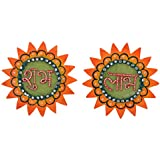 999Store Handmade Multicolour Wooden Star Orange Shubh Labh Diwali Door Hanging