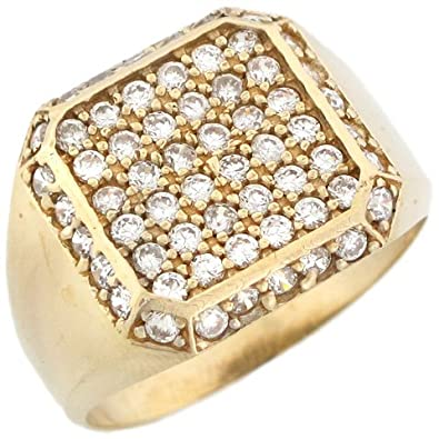 14ct Yellow Gold Mens CZ Square Cluster Ring With Halo