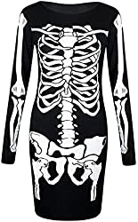Forever Womens Long Sleeves Skeleton Print Halloween Bodycon Dress