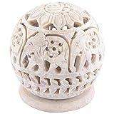 Curio Shop Handmade Stoneware Candle Burner - (L X B X H-7.5Cms X7.5Cms X8.5Cms , Beige/Natural ) - B00YSK1TQC