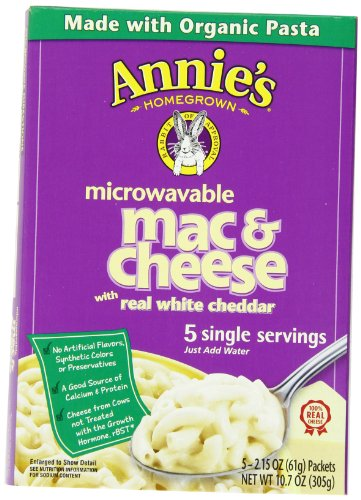 Annie'S Homegrown White Cheddar Microwavable Mac & Cheese, 5-Count 2.15 Packets (Pack Of 6)