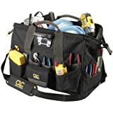 Custom Leathercraft L232 18-Inch 45 Pocket Tech Gear Lighted Big Mouth Tool Bag