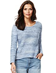 Indigo Collection Pure Cotton Crochet Jumper
