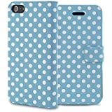 Kobwa(TM) Light Blue/White Polka Dot Leather Flip With Stand Case Cover fit for the new iPhone5/5S With Kobwa's Keyring